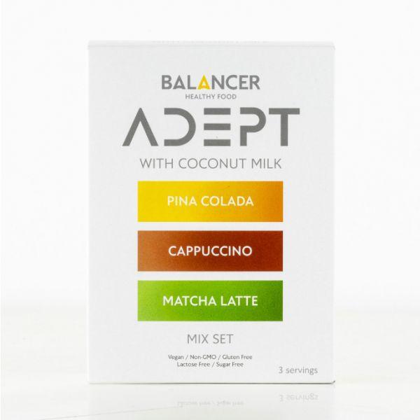 Коктейль BALANCER ADEPT «MIX SET» (капучино, пина колада и матча латте), 3 шт.